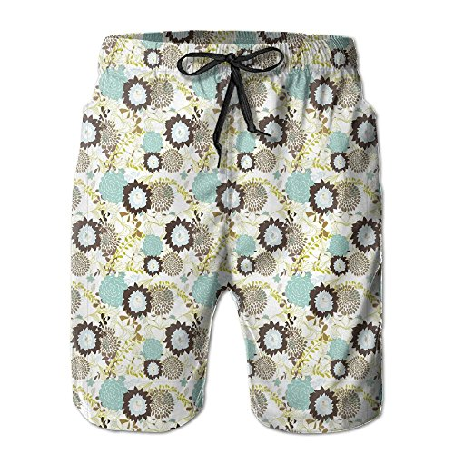 NTK0SKAI Man Pattern Of Old fashioned Exotic Flowers Retro Revival Blossoms Board Shorts Funny Beach Pants Medium