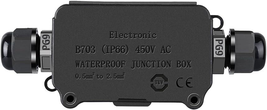 COOLWEST Cajas de empalmes exterior IP66 Impermeable 2 Cables PG9 ...