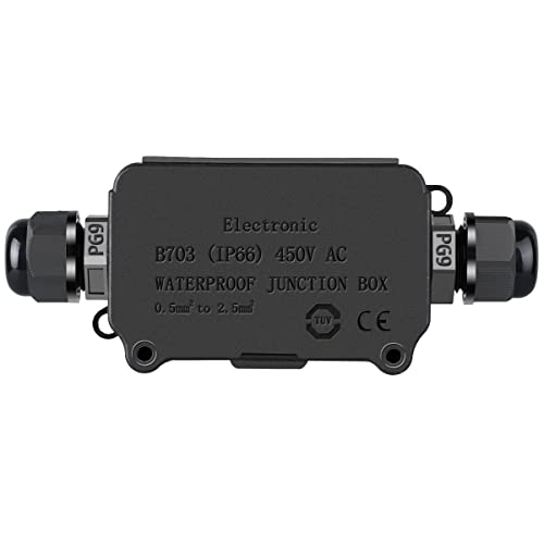 COOLWEST IP66 Waterproof Outdoor 2 Cable PG9 Black Plastic Connector Gland Electrical Junction Box