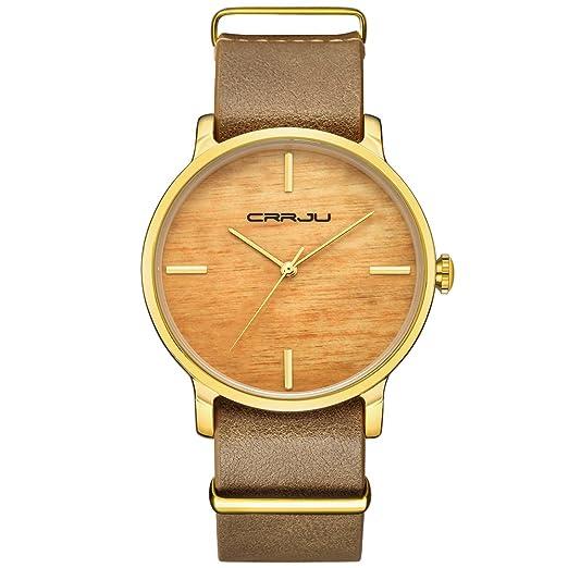 crrju simulación de madera color reloj de pulsera de cuarzo de las mujeres moda vestido de cuero relojes Unisex Casual reloj: Amazon.es: Relojes