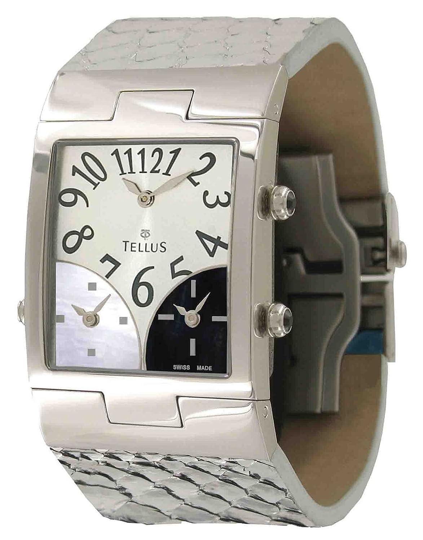 Tellus - Trois quartiers - Damen Armbanduhr Silber aus Edelstahl - Armband schwarz aus Alligator - in Schweiz hergestellt -
