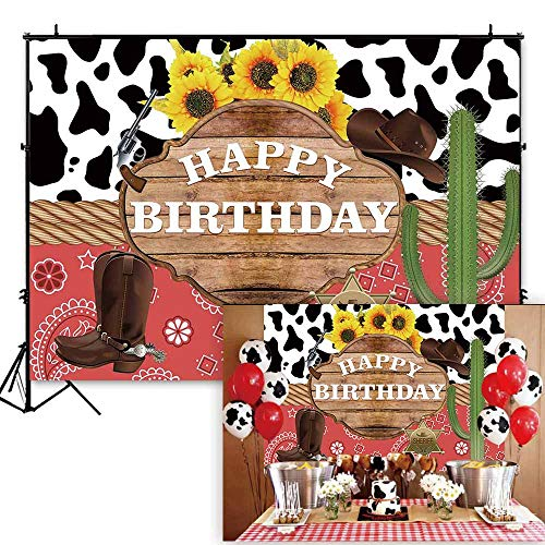 Funnytree 7x5ft Western Theme Birthday Backdrop Wild West Rodeo Cowboy Cowgirl Photography Background Cactus Sunflower Rustic Wood Kids Party Invitation Decoration Cake Table Banner Photobooth -