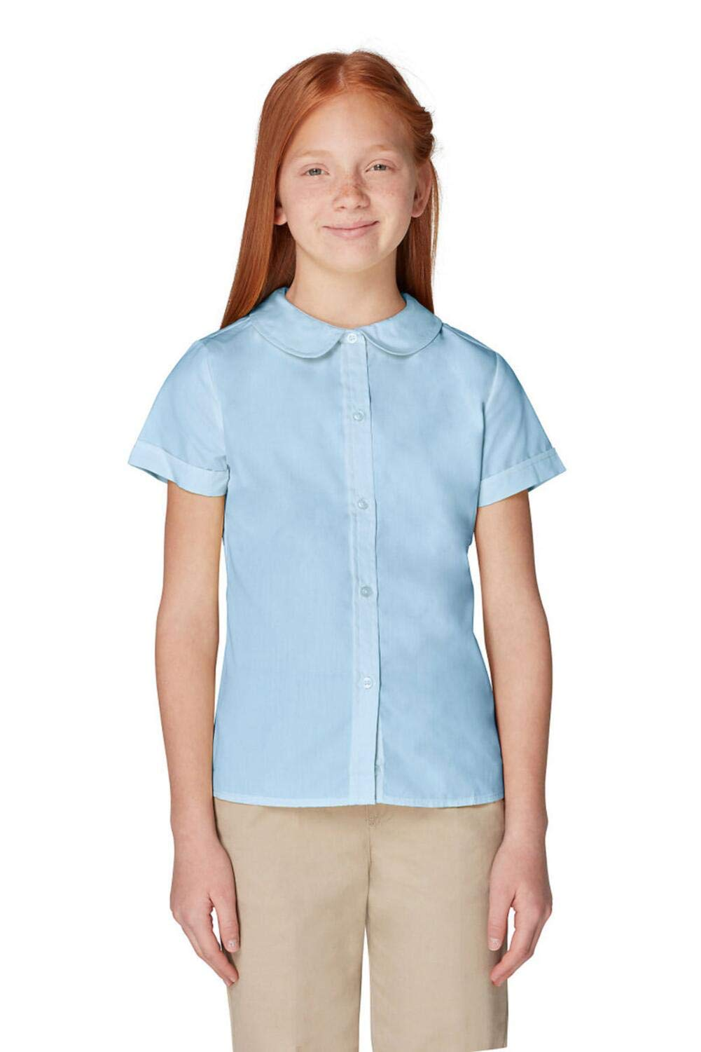 French Toast Girls Size' Short Sleeve Peter Pan Collar Blouse, Light Blue, 20.5 Plus