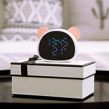 PLEASUR Despertador Digital Infantil, Control Sonido Espejo USB ...