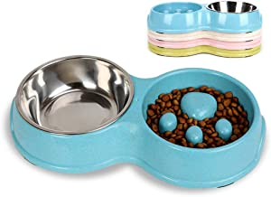 Tineer Double Pet Dog Slow Feeder Bowl,Stainless Steel Anti-choke Puppy Food and Water Feeder for Dog Cats