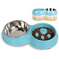Tineer Dubbel husdjur hund långsam matningsskål, rostfritt stål anti-koke valpmat och vattenmatare för hund katter (blå)