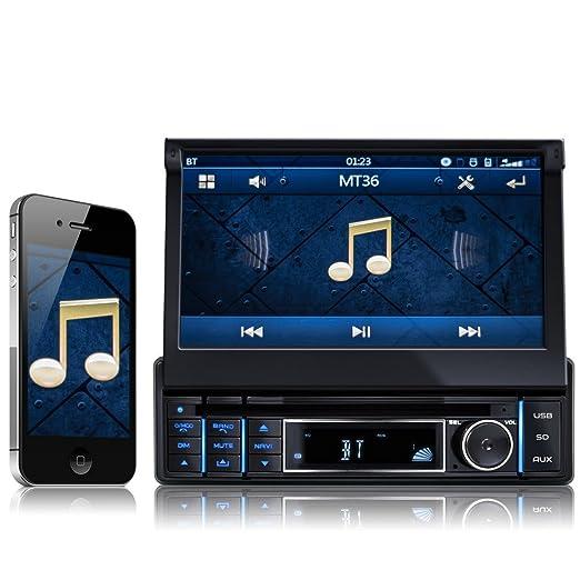 XOMAX XM-DTSBN921 Radio de coche / Autoradio 1DIN con Navegación GPS con Mapas de Europa (48 países) + Bluetooth Manos libres + 7