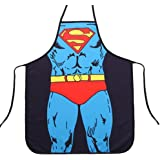 FASHION ALICE Superman Anime Cartoon Hero Character Series Modern Family Apron Couple Kitchen Aprons Funny Personality Sexy Originality Cooking Aprons Gift,Include A Bottle Opener
