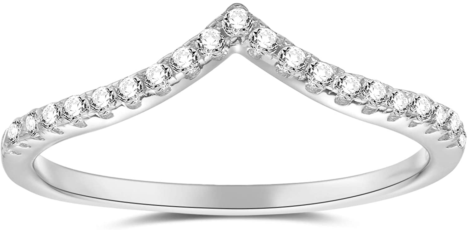 espere Pointed V Shaped Chevron 925 Sterling Silver Ring