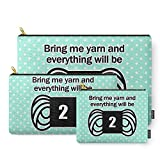 Society6 Bring Me Yarn And Everything Will Be Fine Carry-All Pouch Set of 3