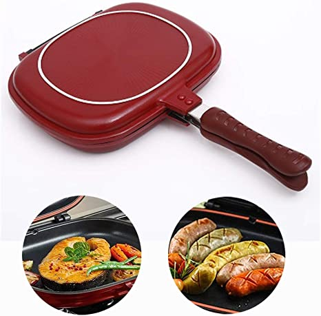 Double-Sided Portable Grill Pan Fish 32CM Nonstick Double Side Omelette Pan Flip Pan Square Jumbo Grill Pan Cookware for Indoor and Outdoor Cooked Chicken