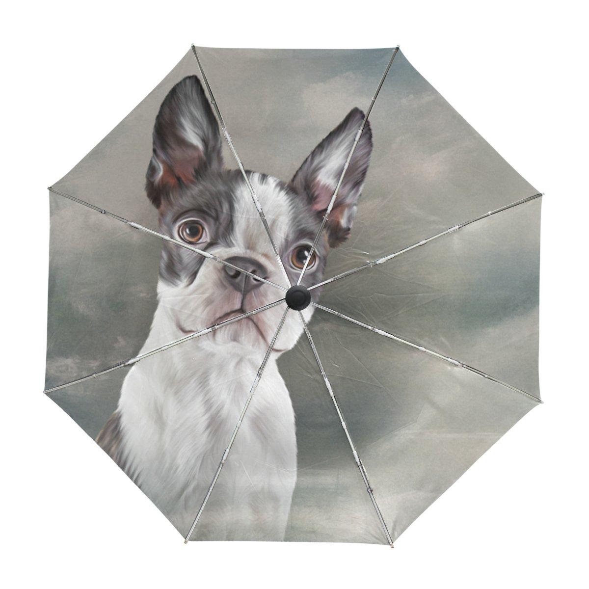 My Daily Boston Terrier Dog Travel Umbrella Auto Open Close UV Protection Windproof Lightweight Umbrella