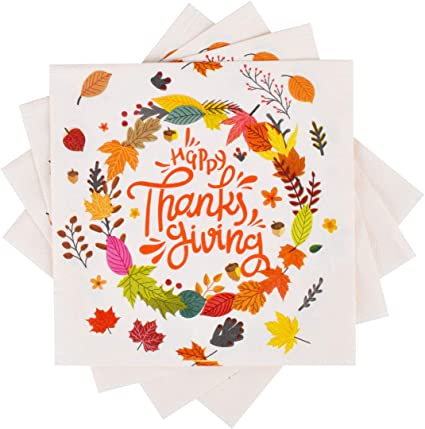Amazon Com Thanksgiving Disposable Maple Leaves Napkins 50pcs For Happy Thanksgiving Dinner Fall Party Health Personal Care