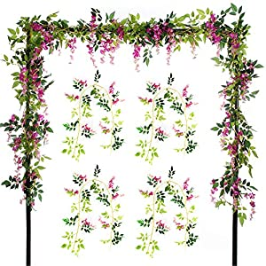 Felice Arts 2 Pcs Artificial Flowers 6.6ft/Piece Silk Wisteria Ivy Vine Green Leaf Hanging Vine Garland for Wedding Party Home Garden Wall Decoration 10