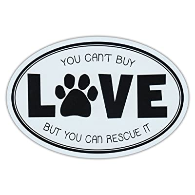 Oval Car Magnet - Can't Buy Love, But Can Rescue It - Rescue Dogs Magnetic Bumper Sticker: Automotive