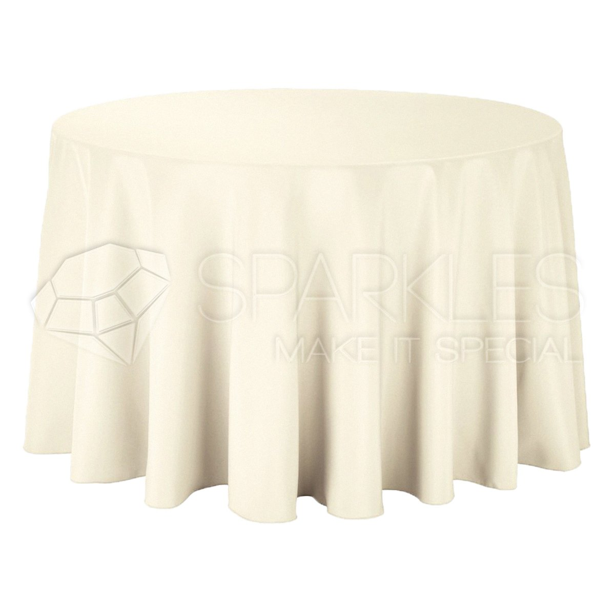 Sparkles Make It Special 10-pcs 120'' Inch Round Polyester Cloth Fabric Linen Tablecloth - Wedding Reception Restaurant Banquet Party - Machine Washable - Choice of Color - Ivory