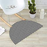 """Geometric Semicircular CushionMonochrome Geometric Ornamental Squares with Triangles and Lines Abstract Modern Entry Door Mat H 27.5"""" xD 41.3"""" Black White"""