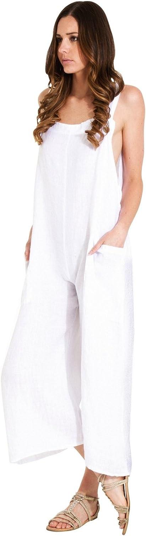 Femme Blanc One Size Playsuit Salopette en Lin Coupe décontractée