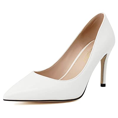 ROSEIDOL Women's Pointed Toe Slip On High Heels Ladies Office Business Work Pumps Stylish Dress Stiletto Shoes 3.3 in | Pumps