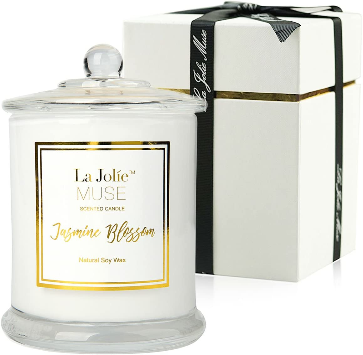 LA JOLIE MUSE Jasmine Scented Candle Gift Natural Soy Wax, 60 Hours Burn Fine Home Fragrance, Glass Jar Candles Gift for Her
