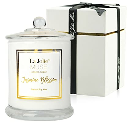 Superior LA JOLIE MUSE Jasmine Scented Candle Gift Soy Wax, Glass Jar Candle, 55  Hours