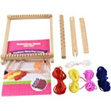 PandaHall Elite Wooden Knitting Looms with Yarns, Warp Weft Adjusting Rods, Combs and Shuttles, Mixed Color, 220x165x25mm