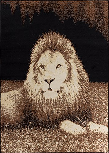 Well Woven Miami Lion Black Animal Print Area Rug 5' X 7' by Well Woven