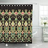Emvency Fabric Shower Curtain with Hooks Andalusia Border Arabian Arabic Iranian Lattice Moroccan Spanish Batik 60''X72'' Decorative Bathroom Treated to Resist Deterioration by Mildew
