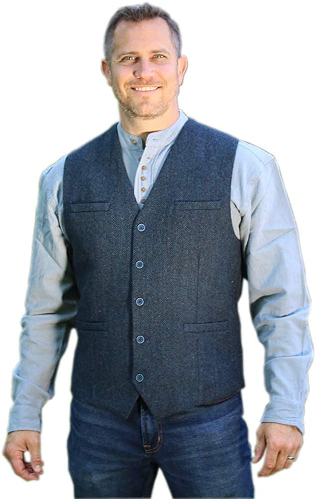 Tweed Vest for Men, Imported from Ireland, Blue