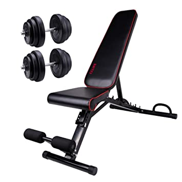 Banco De Pesas con pesas 40 kg Set 10000121 - Banco de entrenamiento Press de banca Fitness dispositivo lanhantel Banco fitness Banco inclinado banco: ...