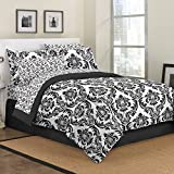 First At Home Marceline Comforter Set, Queen, Black