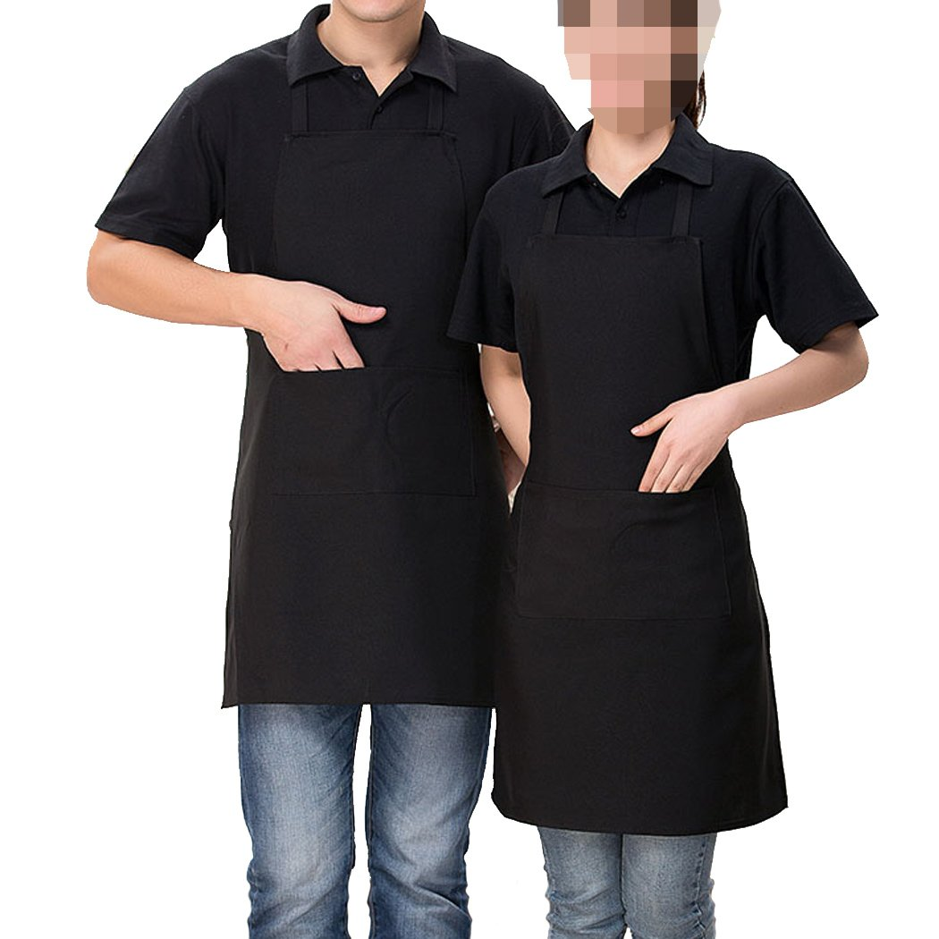 si ying 2 Pack Adjustable Bib Apron with Pocket, Coffee Shop, Kitchen, Bar, Bakery, Hotel, Durable Apron for Women Men (Black)