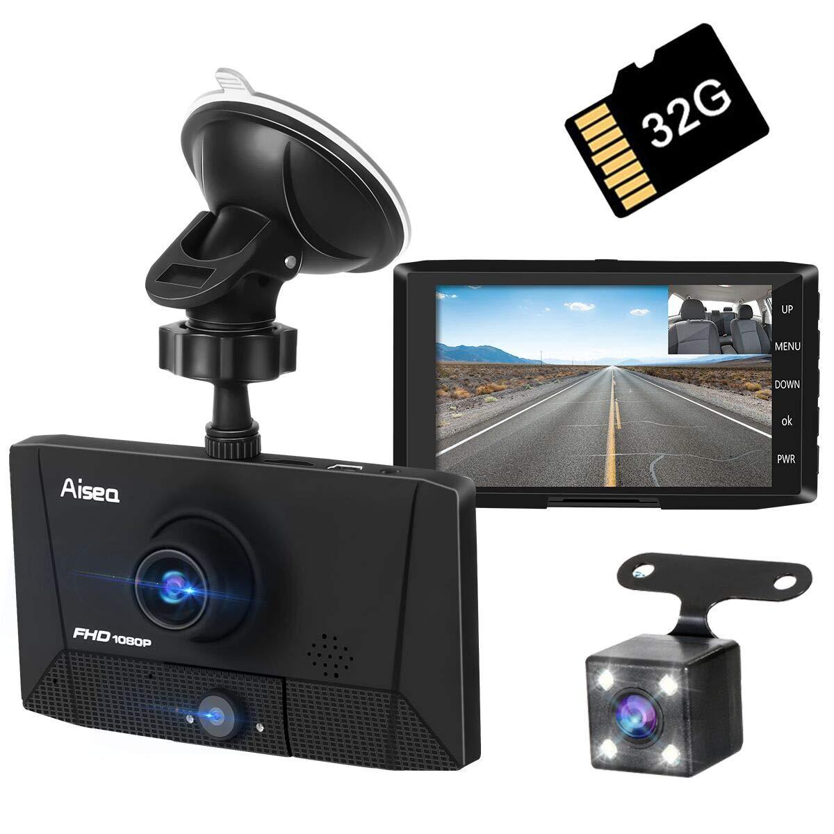 【3カメラ搭載】ドライブレコーダー 最新版 前後カメラ 車載カメラ 車内外同時録画 リアカメラ付き 4.0インチ画面 1080PフルHD 駐車監視 170°広視野角 常時録画 G-sensor WDR搭載 (32GB SDカード付き)