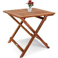 Deuba Table d'appoint Pliable en Bois d'acacia, Table pour Camping Jardin 70x70x73cm