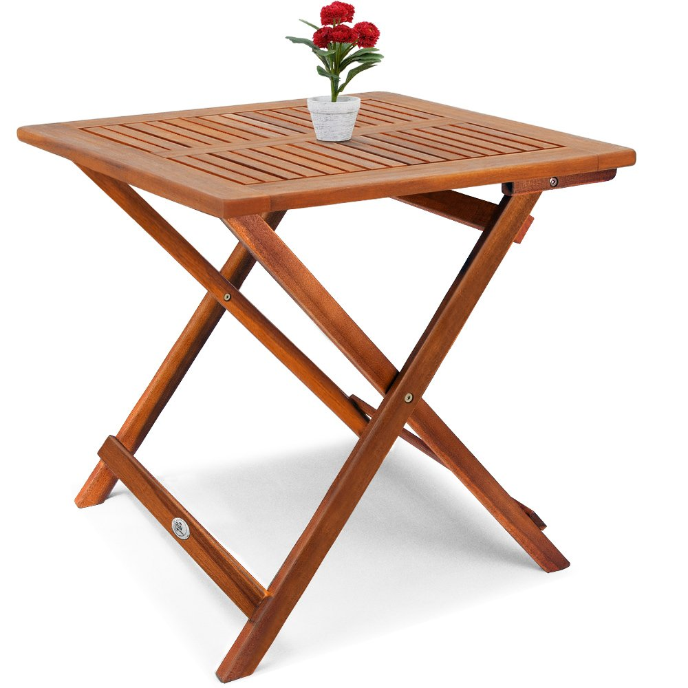 Deuba 70x70cm Acacia Wood Bistro Table, Coffee, Side, Snack Table Solid Wooden Pre-oiled Brown