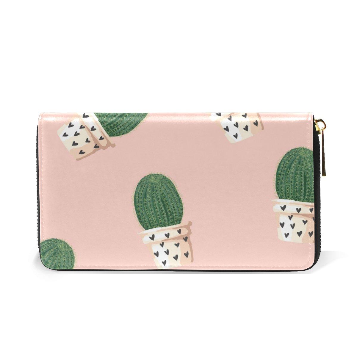 LAVOVO Cute Cactus Love Womens Clutch Purses Organizer And Handbags Zip Around Wallet