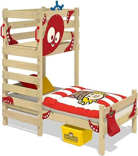 WICKEY Cama para jugar CrAzY Octopus Cama infantil 90 x 200 Cama individual de madera conjugar pedestal para niños y niñas con somier de madera, rojo: Amazon.es: Bricolaje y herramientas