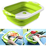 Foldable Multifunction Chopping Board, Collapsible Dish Tub Basin Cutting Board Colander, Vegetable Fruit Wash and Drain Sink Storage Basket, Space Saving for Kitchen Home (Green)