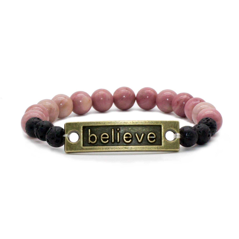 Bivei Lava Rock Stone Aromatherapy Essential Oil Diffuser Bracelet - Natural Semi Precious Gemstone Beads Healing Crystal Bracelet anbivi11121896