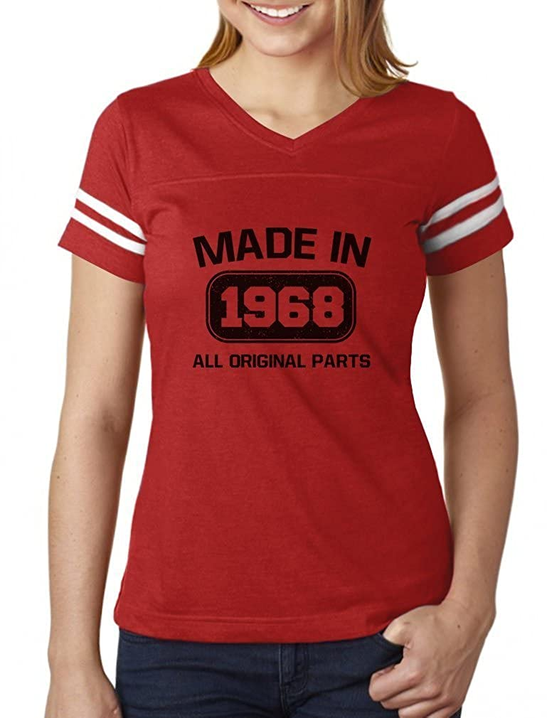 50th Birthday Gift Made in 1968 All Original Parts Women Football Jersey T-Shirt GZalttlgSu