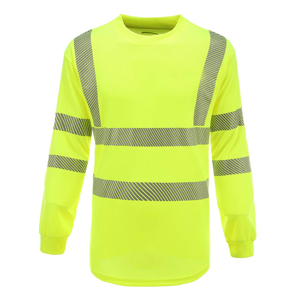 A-SAFETY Hi Vis Moisture Wicking Men Women Construction Exercise Security Shirt Yellow, Large