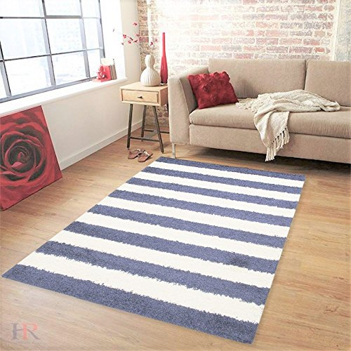 HR SHAGGY STRIPED OCEAN BLUE AND WHITE CONTEMPORARY MODERN AND SOFT PLUSH AREA RUG (5 feet by 7 feet,Ocean Blue and white)