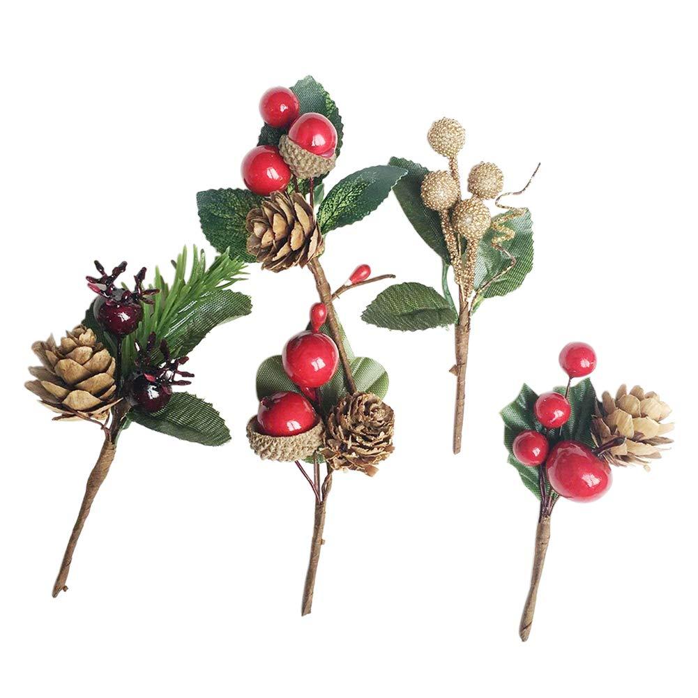 Chytaii Kit Décoration Noël Forme Pomme de Pin Baies de Houx Ornement DIY de Mariage Décoration de Cadeaux Enfant Carte de Voeux