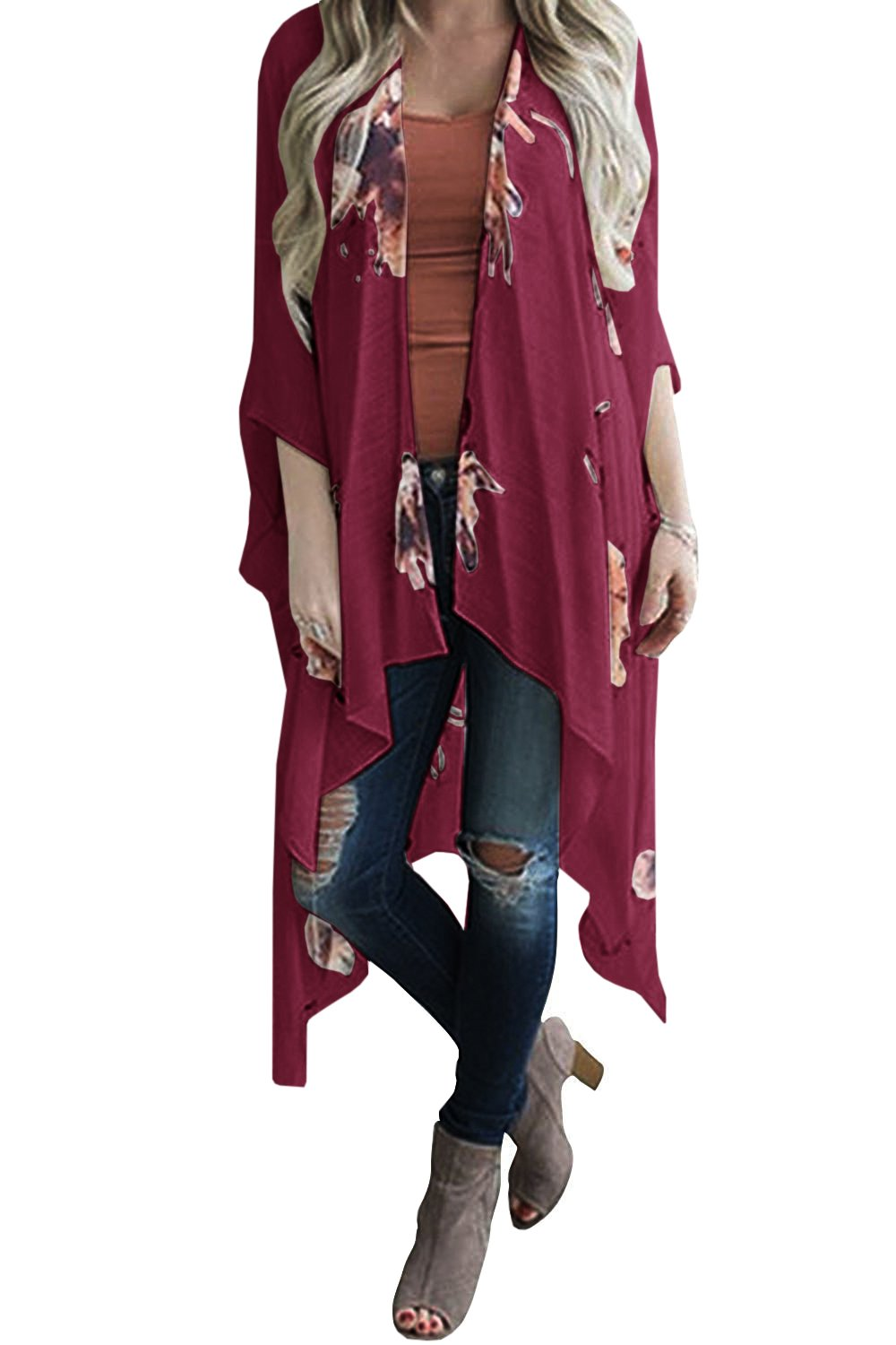 Geckatte Women's Floral Print Cardigan Chiffon Loose Swing Kimono Capes 3/4 Sleeve Irregular Tops (Medium, Wine Red)