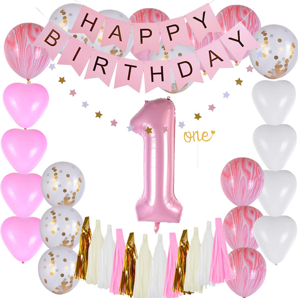 Godagoda Baby 1 Year Birthday Party Decoration Pink Birthday Paper Flag Paper Tassel-1 Set
