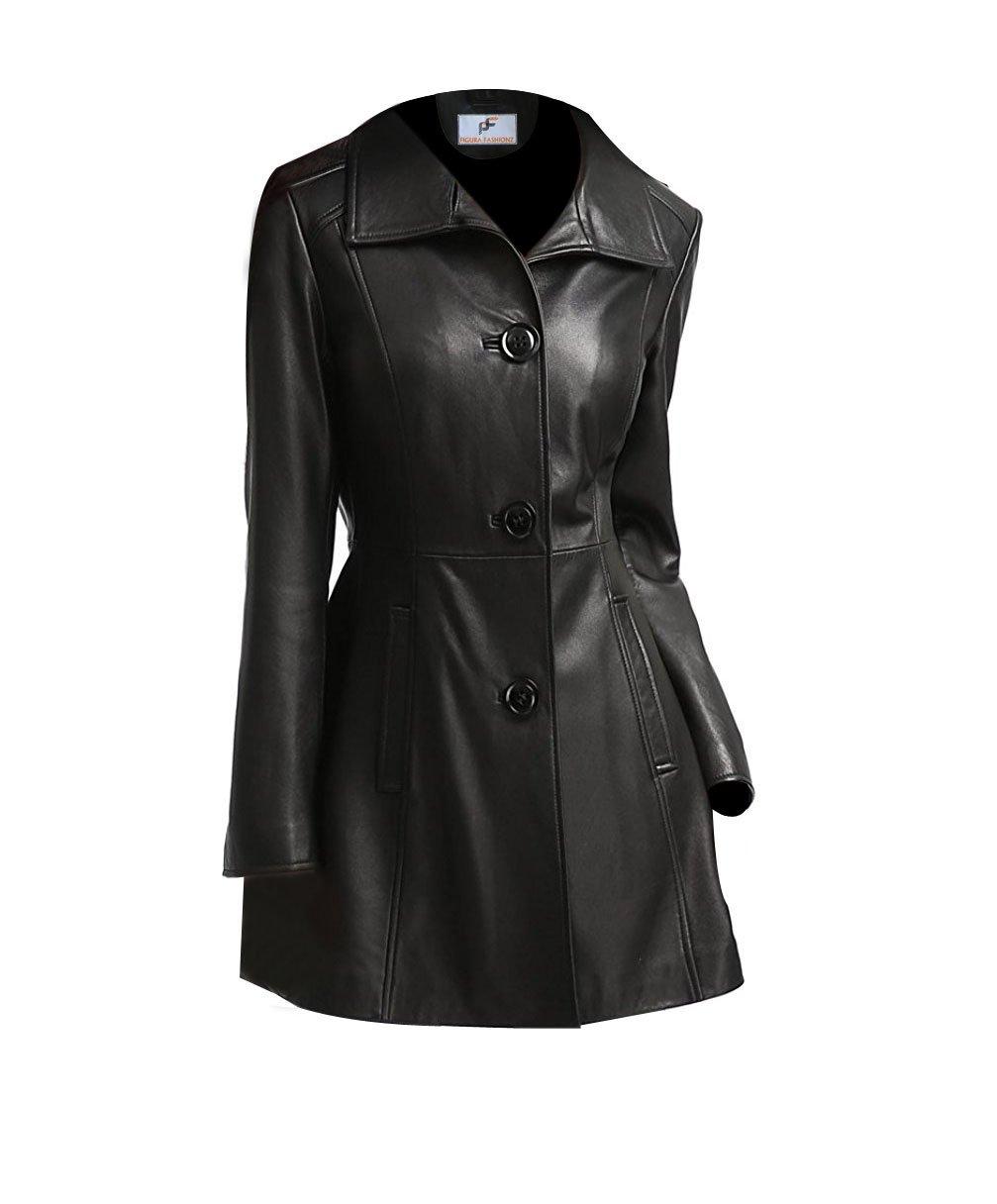 Figura Fashionz Faux Leather Long Body Coat for Women (X-Small)