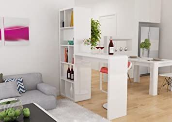 Mixibaby Stilvolle Theke Bar Tresen In Hochglanz Weiss Amazon De