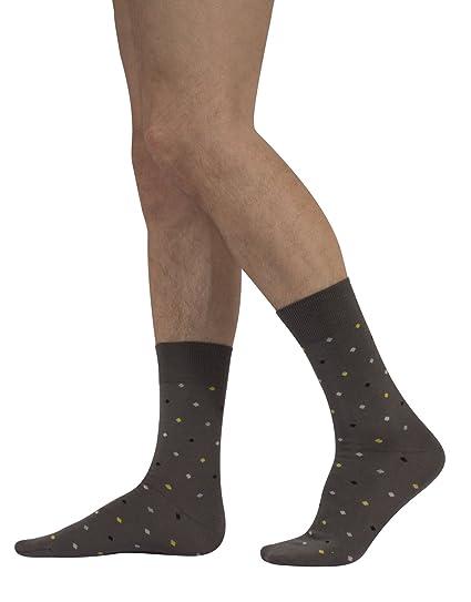Calcetines de Algodón para Hombre | Calzetines Comodos y Elegantes | Fantasia de Lunares | Negro