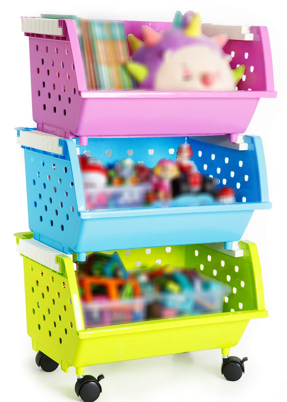6 Baskets Choose MAGDESIGNER Kids Toys Chest Large Baskets Storage Bins Organizer with Wheels Can Move EverywhereNatural//Primary Primary Collection