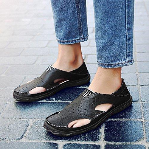 da EU outdoor 42 Sandali esterno scarpe adatti spiaggia a estivi da Sandali esterno Black sport Black da in pelle da Sandali da uomo Size da sportivi spiaggia e pescatore Color Of78qBA